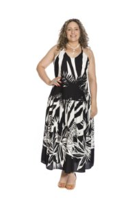 Vestido longo alça fina viscoflair estampa floral preto e branco