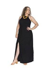 Vestido longo perna aberta alça fina regulável preto