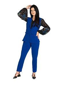 Colete botão forrado bolso frontal crepe azul royal