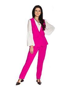 Colete botão forrado bolso frontal crepe rosa pink