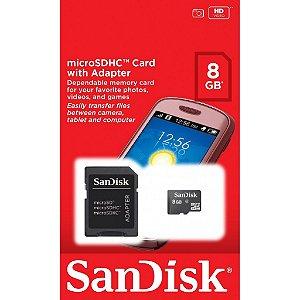 Cartão de Memória Micro SD SanDisk 8GB Com Adaptador