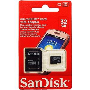 Cartão De Memoria SanDisk 32gb Micro Sdhc Com Adaptador