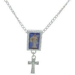 Escapulário Banhado a Prata com Pingente Religioso Tamanho Aproximado: 62cm REF:GAR00084