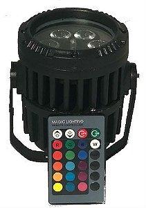 PAR LED MINI RGB 3W IP65 CONTROLE REMOTO