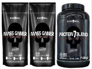 2x Mass Gainer 3kg - Black Skull + 1 Protein 7Blend 1,8kg - Black Skull