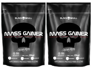 2x Mass Gainer 3kg (Total 6kg) Morango - Black Skull