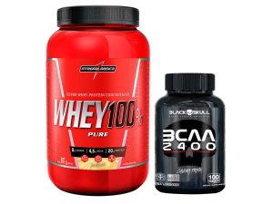 100% Whey 907g Chocolate Integral Medica + Bcaa 2400 Black Skull 100 Tabletes