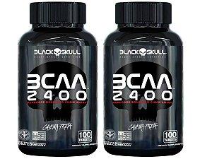 2x Bcaa 2400 100 Tabs - Black Skull Caveira Preta