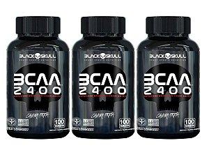 3x Bcaa 2400 100 Tabs - Black Skull Caveira Preta