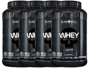 4x Whey Pote 900g - Black Skull Baunilha