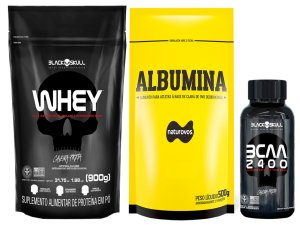 Whey Refil 900g Black Skull + Albumina 500g Naturovs (Morango) + Bcaa 30 tabletes