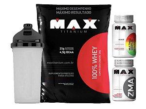 100% Whey Refil 2kg Chocolate Max Titanium + Zma 90 Cáps + Multimax 90 Cáps + Shaker