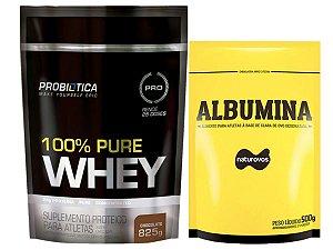 100% Whey 825g Probiotica + Albumina 500g Naturovos Morango