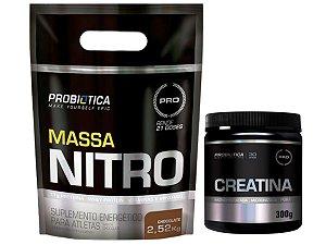 Massa Nitro 2520g Chocolate - Probiótica + Creatina 300g - Probiótica