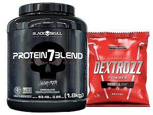 Protein 7 Blend 1,8kg - Black Skull Morango + Dextrose 1kg Integral Medica Neutro