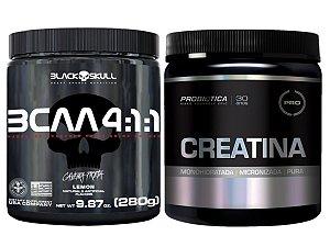 Bcaa 4.1.1 280g - Black Skull Morango + Creatina 300g Probiótica