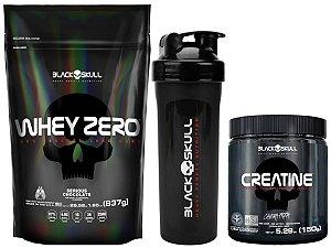 Whey Zero Refil 837g Baunilha + Creatina 150g Black Skull + Shaker