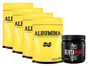 4X Albumina 500g Morango - Naturovos + Glutamina 350g Integralmédica