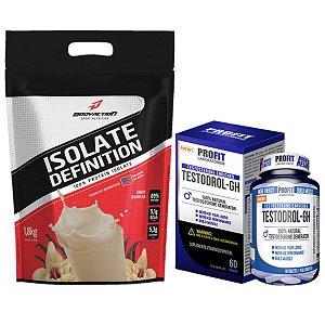 Isolate Definition 1,8kg  Bodyaction Merengue de Morango + Testodrol GH 60 tabs - Profit