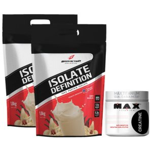 2X Isolate Definition 1,8kg  Bodyaction Merengue Morango + Creatina 300g Max Titanium