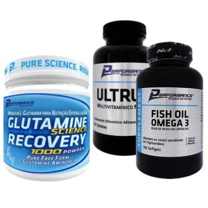 Kit Imunidade Glutamina 300g Performance + Ultrum 100 tabs + Fish Oil Omega 3 100 Softgel