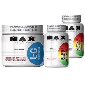 Kit Imunidade Glutamina 300g Max Titanium + 2X Multimax 90 cáps Max Titanium