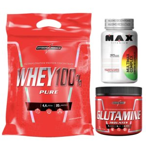 100% Whey 907g Chocolate Integral + Glutamina 150g Integral + Multimax 90 cáps