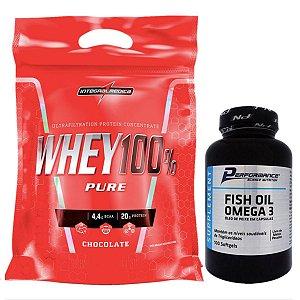 100% Whey 907g Morango Integral + Fish Oil 100 Softgel Performance