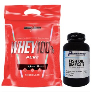 100% Whey 907g Cookies Integral + Fish Oil 100 Softgel Performance