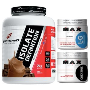 Isolate Definition 2kg Morango Body + Glutamina 300g Max + Creatina 300g Max
