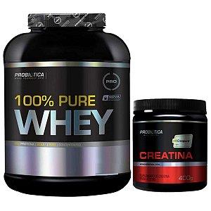 100% Pure Whey 2kg Morango Probiótica + Creatina Creapure 400g Probiótica