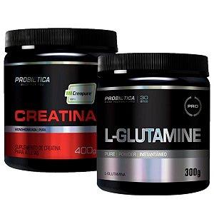 Creatina Creapure 400g Probiótica + Glutamina 300g Probiótica