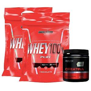 2X 100% Whey 907g Chocolate Integral + Creatina Creapure 400g Probiótica