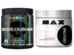 Bone Crusher 300g - Black Skull Fruit Punch + Creatina 300g Max Titanium