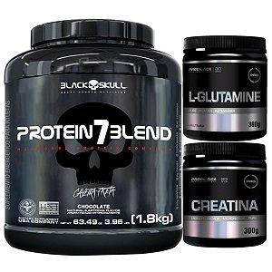 Protein 7 Blend 1,8kg - Black Skull Morango + Glutamina 300g + Creatina 300g Probiótica