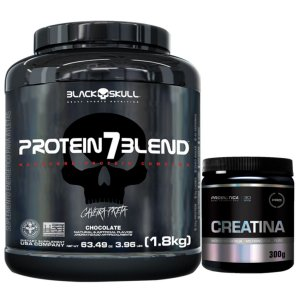 Protein 7 Blend 1,8kg - Black Skull Caramelo + Creatina 300g Probiótica