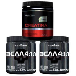 2X Bcaa 4.1.1 280g Morango - Black Skull + Creatina Creapure 400g Probiótica