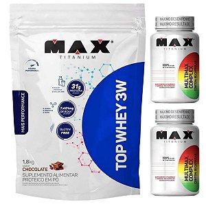 Top Whey 3w 1,8kg Max Titanium Morango + 2X Multimax 90 Cáps Max