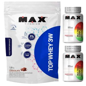 Top Whey 3w 1,8kg Max Titanium Chocolate + 2X Multimax 90 Cáps Max