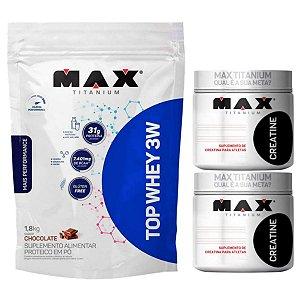 Top Whey 3w 1,8kg Max Titanium Morango + 2X Creatina 300g Max Titanium