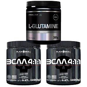 2X Bcaa 4.1.1 280g Morango - Black Skull + Glutamina 300g Probiótica