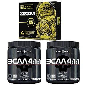 2X Bcaa 4.1.1 280g Morango - Black Skull + Kimera  60 cáps Iridium