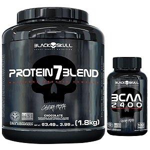 Protein 7 Blend 1,8kg - Black Skull Morango + Bcaa 2400 100 Tabs - Black Skull