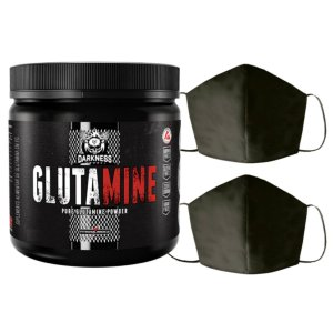 Glutamina 350g Darkness Integral + 2X Máscara Lavável Masculina Algodão Duplo