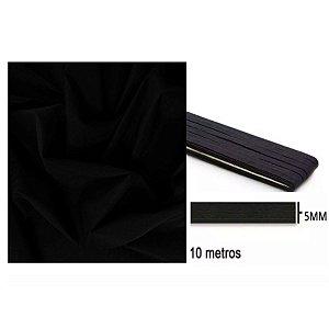 Tecido Tricoline 100% Algodão Preto 1 Metro + Elástico Ideal Máscara 5mm Preto 10m