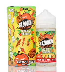 LIQUIDOS BAZOOKA - TROPICAL THUNDER PINEAPPLE PEACH - SOUR STRAWS - 100 ML - 3MG