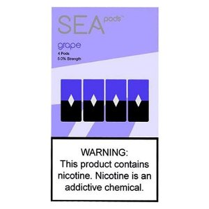 SEA PODS  - 5% Salt Nicotine - GRAPE (1 CAIXA (REFIL) COM 4 PODS).