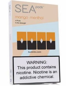 SEA PODS COMPATIVEL JUUL  - 5% Salt Nicotine - MANGO MENTHOL (4 Pack)