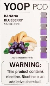 YOOP POD BANANA BLUEBERRY 50MG SALT NIC - COMPATÍVEL COM O JUUL