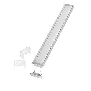 Perfil de Embutir Slim Para Fita LED Com Difusor em Acrílico Leitoso 2 Metros EKPF21